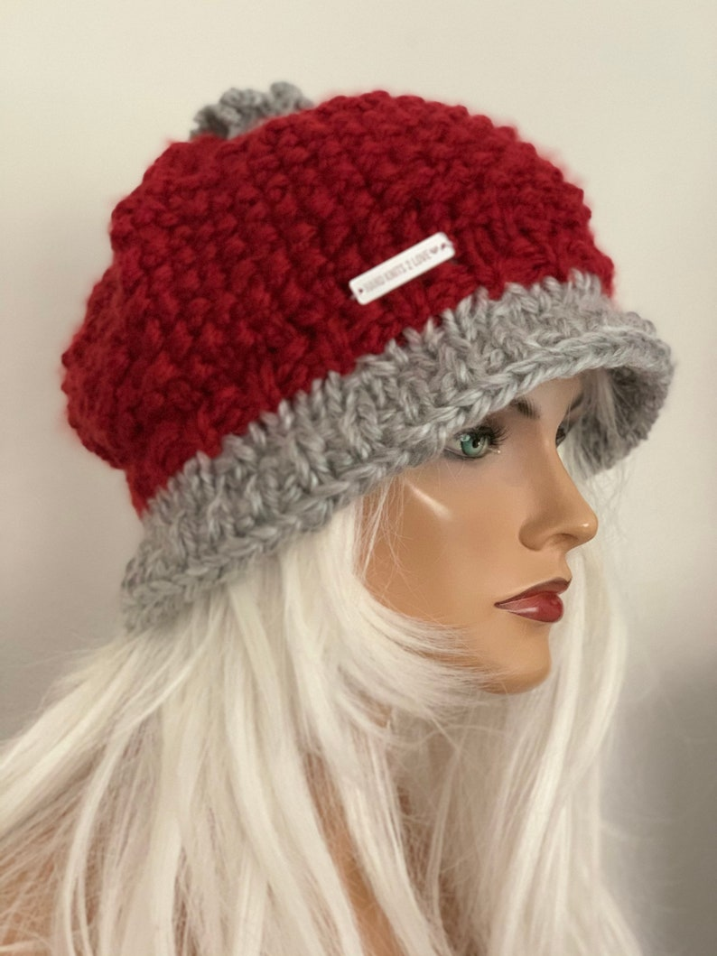 Hand Knits 2 Love Brim Hat Beanie cap Designer Fashion Crochet Flower Pearl Bead Burgundy Silver Grey Chemo Head Hair Female Gift Winter Hip