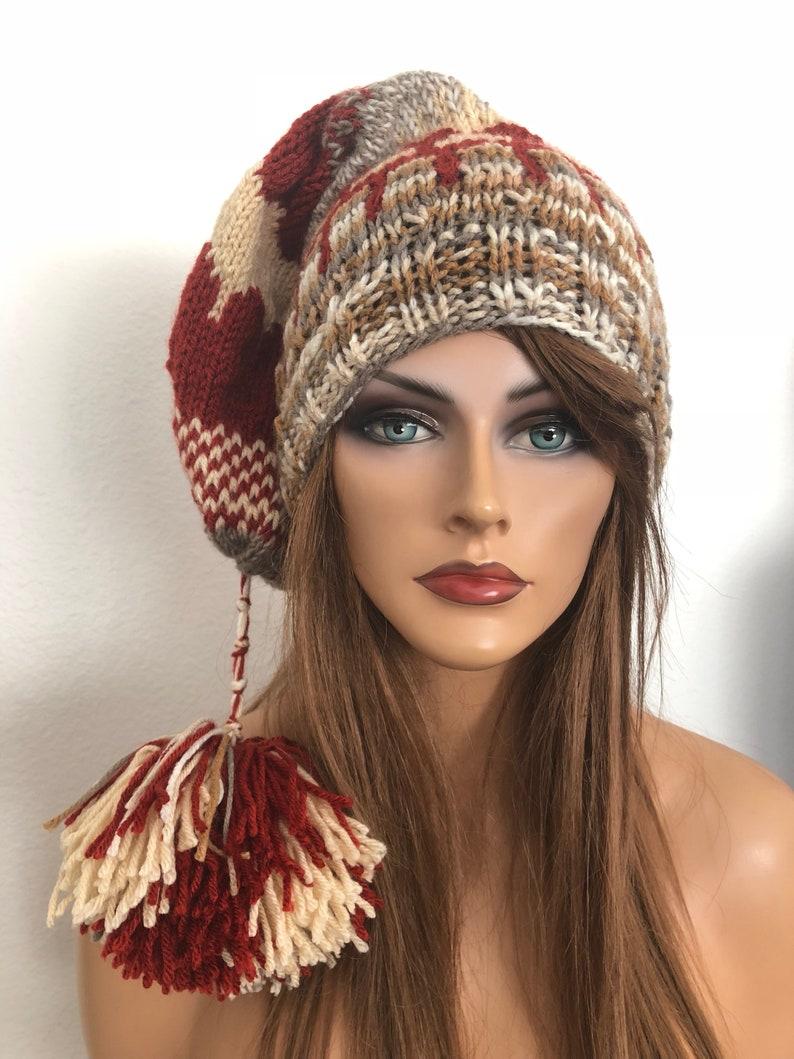 91a2ca2133f59 Hand Knits 2 Love Beanie Hat Slouch cap Fair-Isle Multicolor