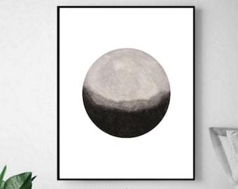 Black and White Moon Watercolor Art Print - Minimalist Watercolor Moon Art Print - Modern Abstract Moon Wall Art Print - Abstract Moon Print