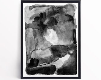 Black and White Abstract Watercolor Art Print - Black White Contemporary Art Print - Modern Watercolor Abstract Wall Art - Black White Print