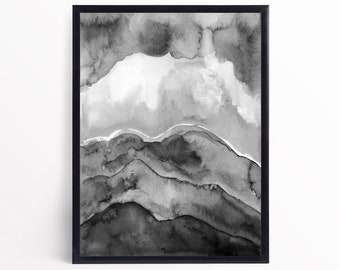Black and White Abstract Landscape Watercolor Art Print - Contemporary Landscape Art Print - Watercolor Abstract Art -Black White Art Print