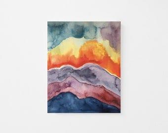 Original Watercolor Abstract Landscape Painting - Watercolor Landscape Abstract Painting - Abstract Watercolor Sunset - Abstract Sunset 8x10