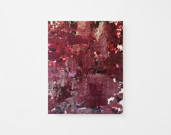 Original Palette-knife Abstract Acrylic Painting on Wood Panel - Textured Acrylic Abstract Painting - Crimson Silver Abstract Painting 8x10