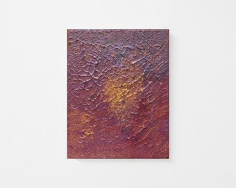 Original Abstract Palette-knife Oil and Acrylic Painting on Canvas - Textured Purple and Gold Abstract Canvas Art - Gold Purple Abstract