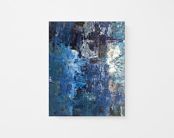 """Original Palette-knife Abstract Acrylic Painting on Wood Panel - Textured Acrylic Abstract Painting - Silver Blue Abstract Painting - 8""""x10"""""""