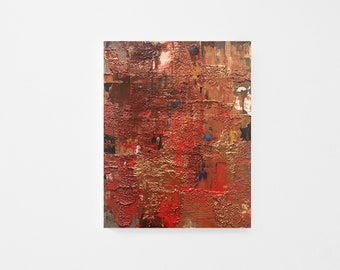 Original Palette-knife Abstract Acrylic Painting on Wood Panel - Textured Acrylic Abstract Painting - Contemporary Red Gold Abstract Art