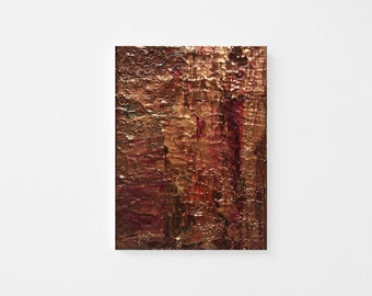 Original Palette-knife Abstract Acrylic Painting - Textured Acrylic Abstract Painting - Purple Gold Abstract Art - Contemporary Abstract 6x8