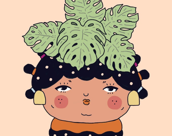 Monstera Plant People Giclee Print