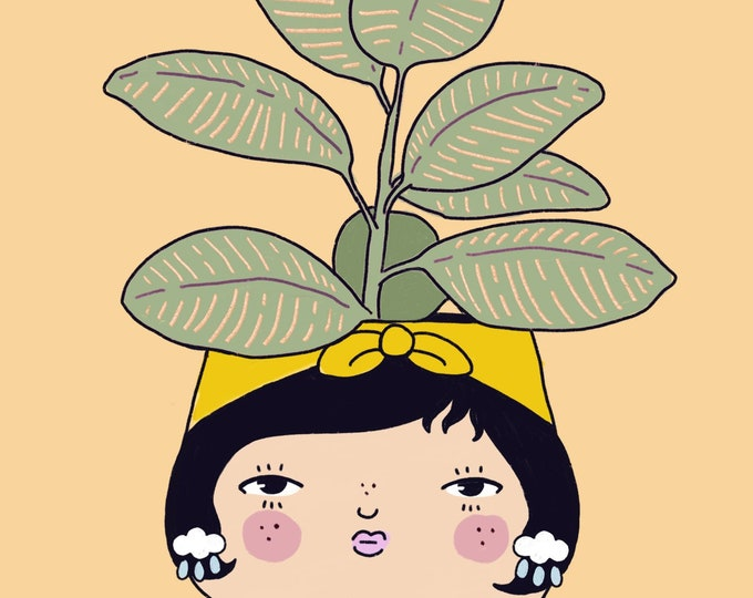 Rubber Tree Plant People Giclee Print
