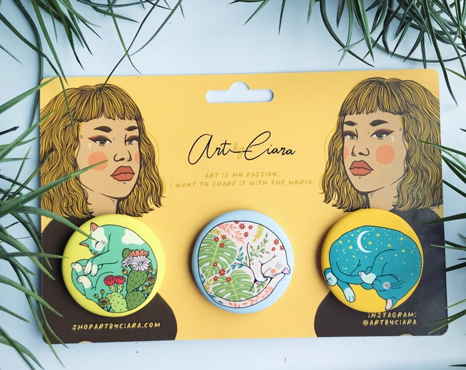 Sleepy Cat Pin pack - Succulent, Tropical, Celestial