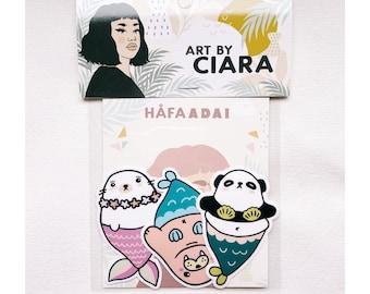 Mermaid Critters vinyl Sticker pack