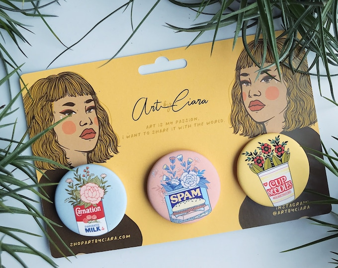 Nostalgia Button Pin pack - carnation, spam, cup of noodles