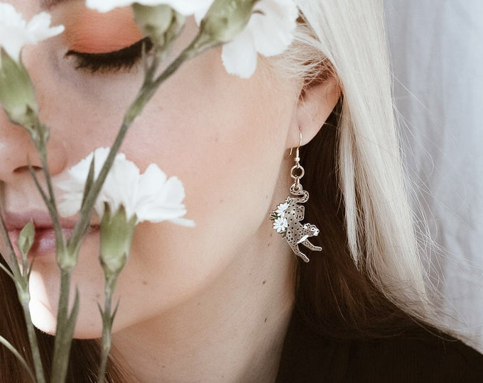 Gold Floral Cheetah Earrings