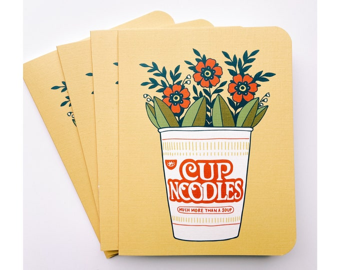 Greeting Cards 4pk- cup of noodles & flowers