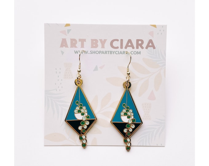 Gold Hanging Plant Earrings
