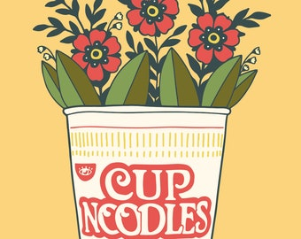 4x6 Giclee print- Cup of Noodles