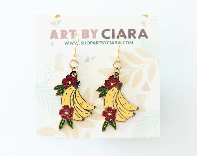Gold Banana and Flower Earrings