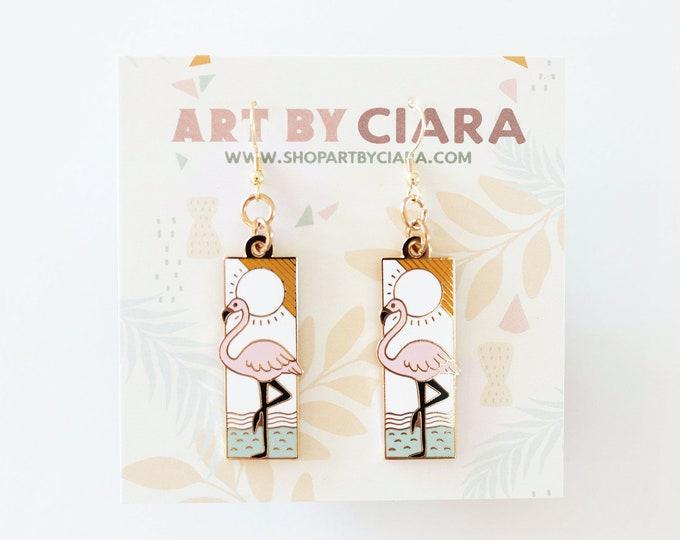 Gold Flamingo Geometric Earrings