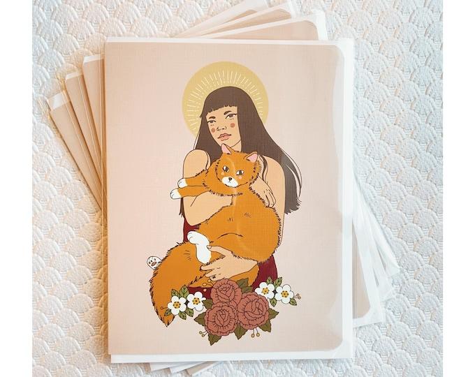 Greeting Cards 4pk- Cat Saint