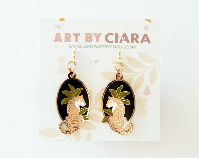 Gold Jungle Tiger Earrings