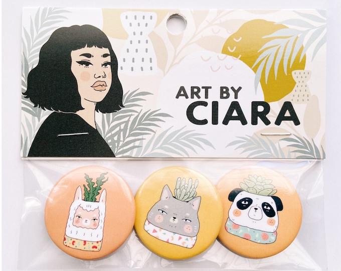 Cute Llama, cat and panda houseplants- Button Pin Pack