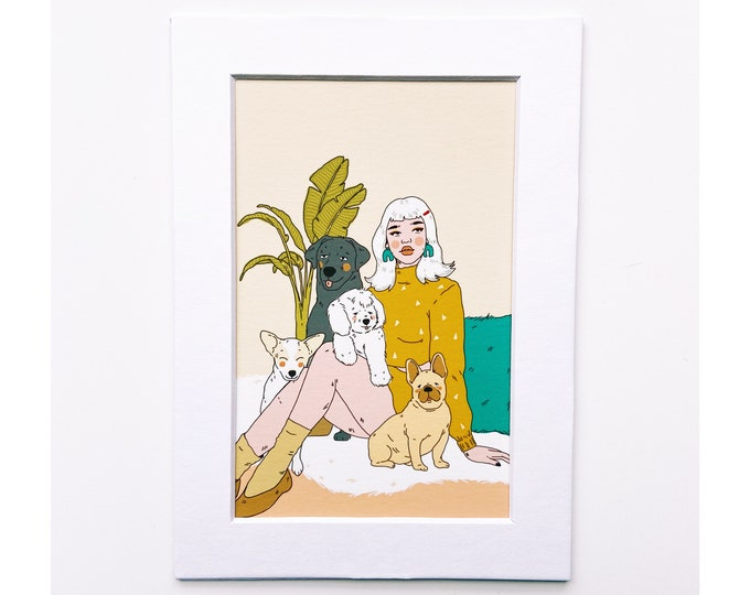 4x6 Giclee print- Dog Mom