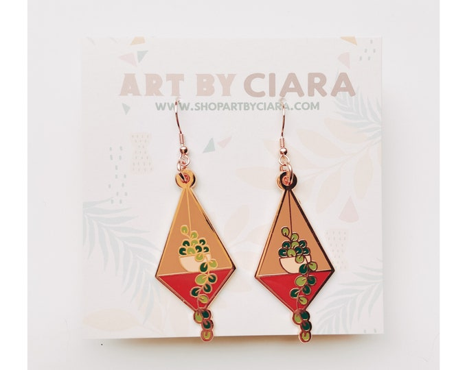 Rosegold Hanging Plant Earrings