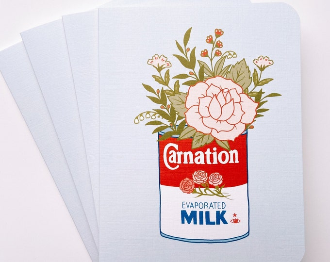 Greeting Cards 4pk- carnation milk & flowers