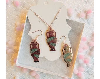Earrings and Necklace Set - Rosegold Palm Vase
