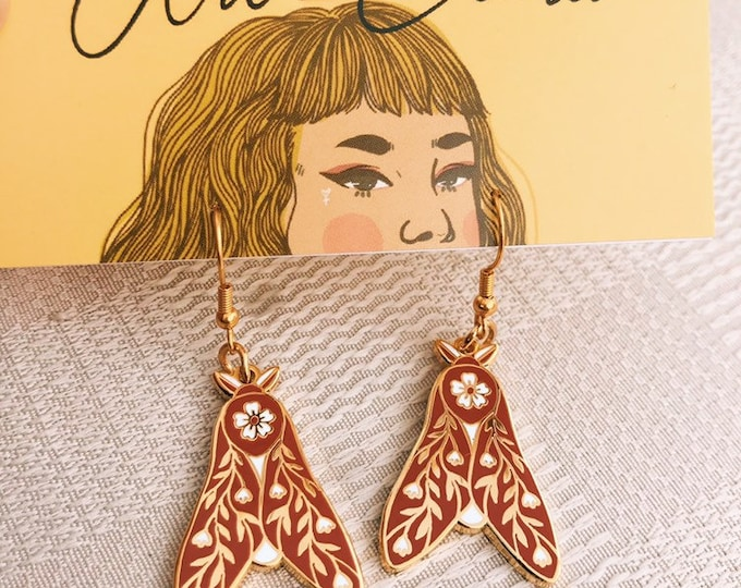 Floral moth gold plated earrings