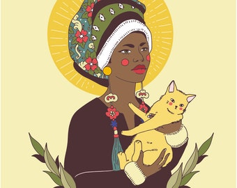 4x6 Giclee print- Our lady of Cats