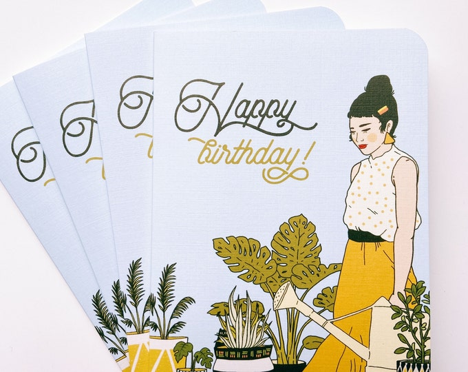 Greeting Cards 4pk- Happy Birthday Houseplants
