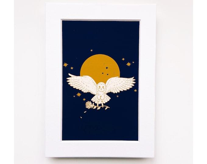 4x6 Giclee print- Owl, moon and Chrysanthemum