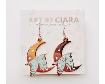 Rosegold Celestial Bird Earrings