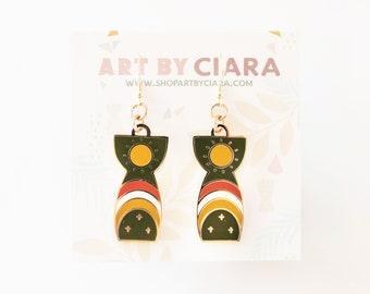 Gold Latte Stone Earrings