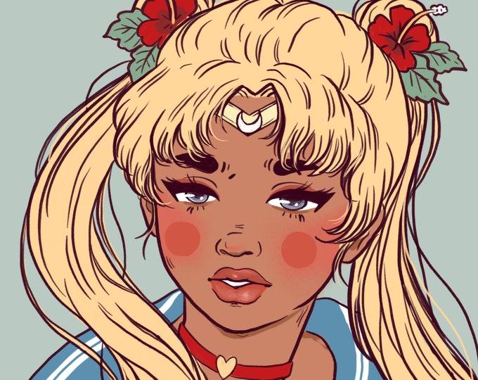 4x6 Giclee print- Sailor Moon Island Girl
