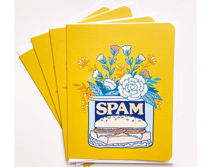 Greeting Cards 4pk- spam and flowers
