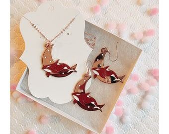 Earrings and Necklace Set - Rosegold Celestial Orca