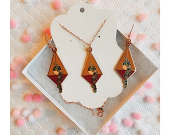 Earrings and Necklace Set - Rosegold Hanging Plant