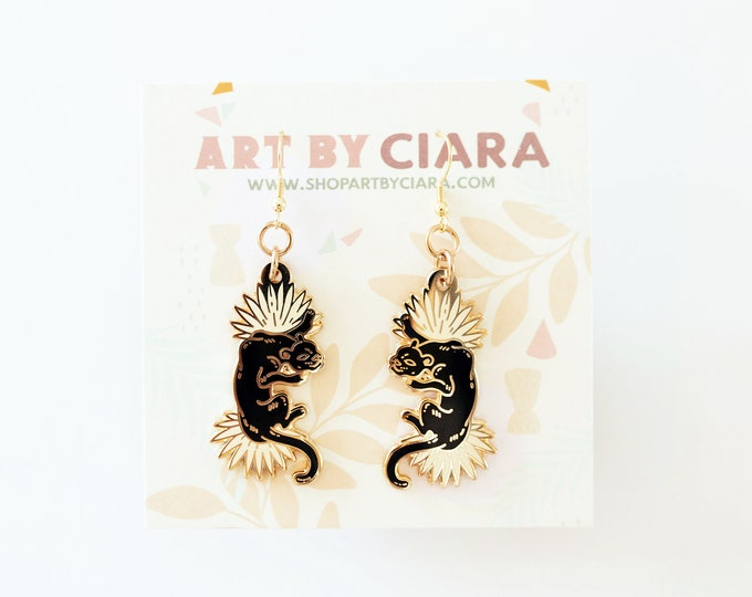 Gold Panther Palm Earrings