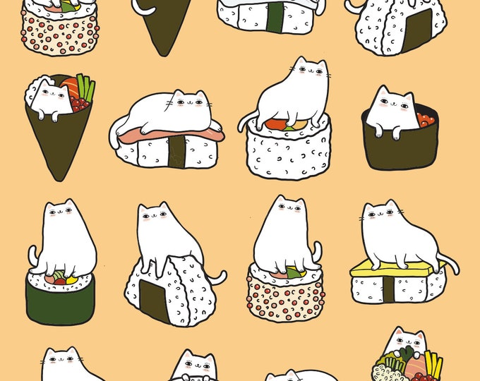 Sushi Cats Giclee Print