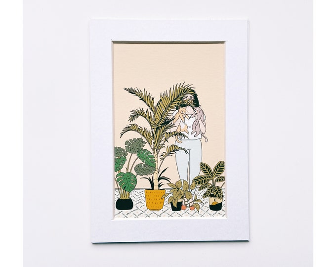 4x6 Giclee print- Stay at home Plant Mom