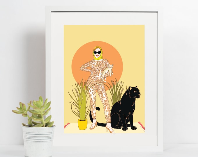 4x6 Giclee print- Cat Lady
