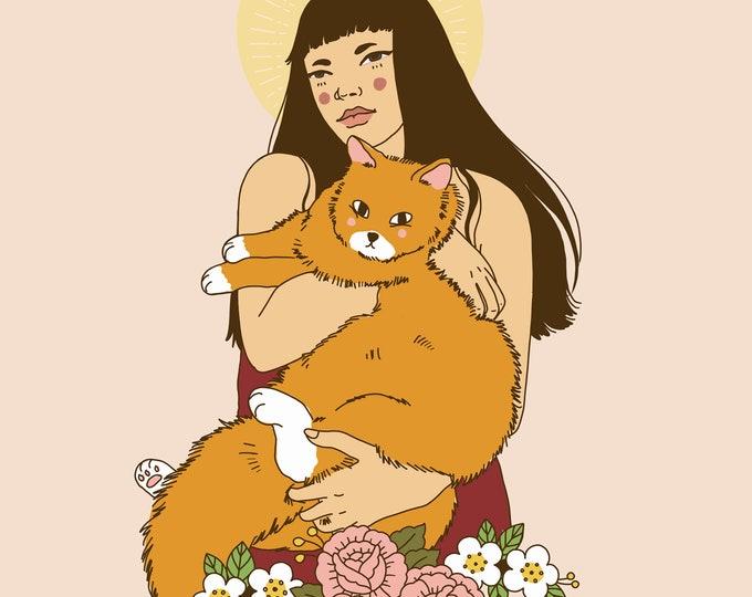 Cat Saint Lady Giclee Print