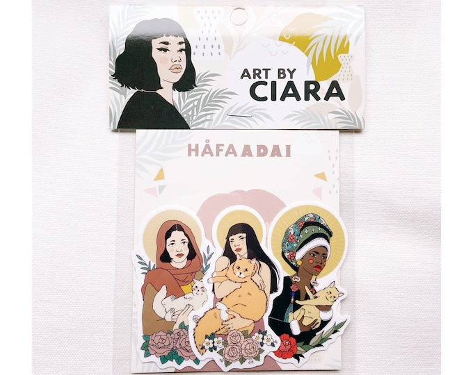 Cat saint ladies vinyl Sticker pack