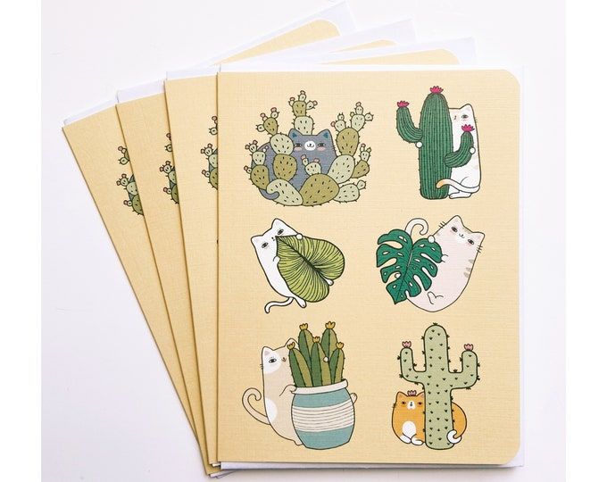 Greeting Cards 4pk- Cats and Houseplants