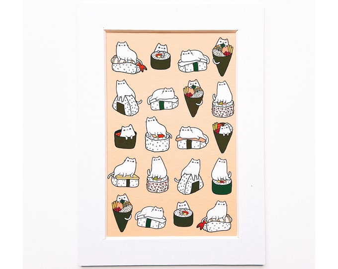 4x6 Giclee print- Sushi Cats