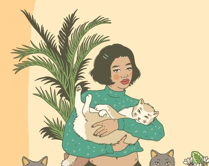 4x6 Giclee print- Cat Mom