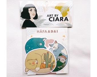 Sleeping Cats vinyl Sticker pack