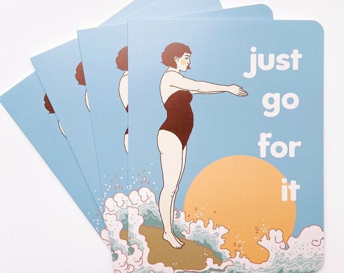 Greeting Cards 4pk- Just go for it (diver)